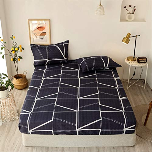 YYSZM Three-Piece Bedding: 1 Bed Sheet, 2 Pillowcases, 100% Polyester Printed Bed Sheet And Stretch Polyester Mattress Cover, Non-Slip, Dustproof, Hypoallergenic, Easy To Care