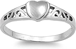 Heart Filigree Ring Sterling Silver 925