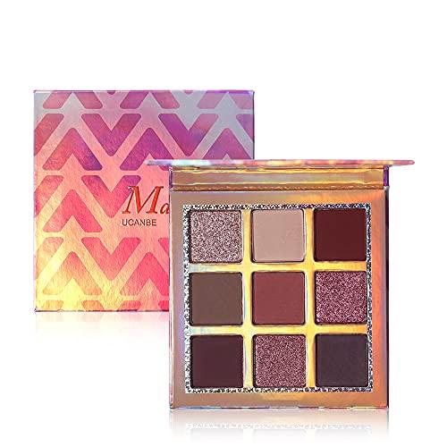 Palette de fard à paupières de 9 couleurs, kit de fard à paupières professionnel Palette de maquillage métallisée scintillante, pigment brillant, mat (A-MARVELL)