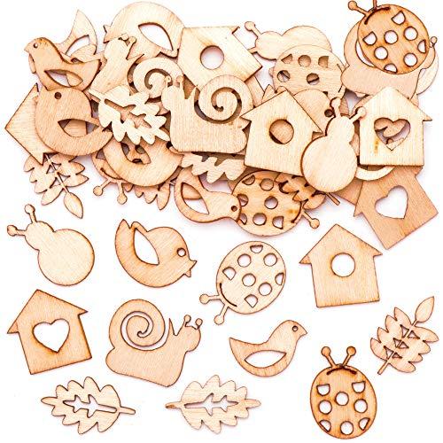 Baker Ross Garten Mini Holzformen (45 Stück) – Bastelidee zu Ostern für Kinder zum Zusammensetzen und Dekorieren
