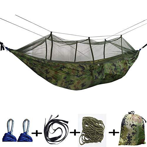 SHARESUN Hangmat, 2 personen buiten met klamboe, ultra-licht, ademende hangmat, laadvermogen 300kg, camping hangmat, strand, tuin
