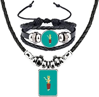 Cambodian Festival Dancing Women Leather Necklace Bracelet Jewelry Set