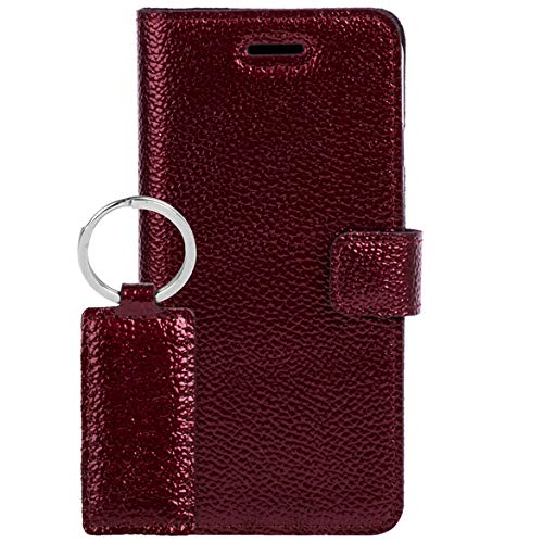 SURAZO Ferro - Premium Vintage Ledertasche Schutzhülle TV Wallet Case aus Echtesleder Veloursleder Farbe Rot für Google Pixel 2 XL