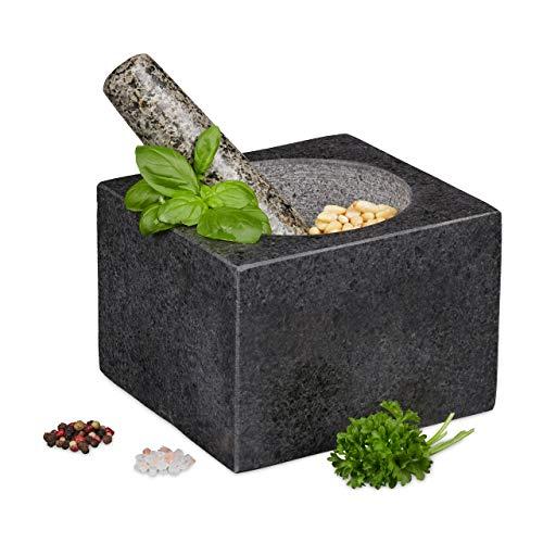 Relaxdays Mörser mit Stößel, Granit, poliert, für Gewürze & Kräuter, 500 ml, Steinmörser BxT: 14,5 x 14,5 cm, dunkelgrau