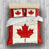 NYLIN Fundas Nórdicas Bandera Nacional Juego De Ropa De Cama Vintage Canadá Colcha 2/3/4PCS Fundas De Edredón Nórdico/Almohada/Sábanas,para Cama 90/135/150/180 (200×200cm-Cama 135/140-3PCS,02)