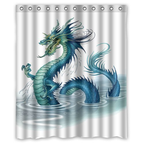 KXMDXA Golden Chinese Dragon Waterproof Polyester Shower Curtain 60x72 Inch Bathroom Decor