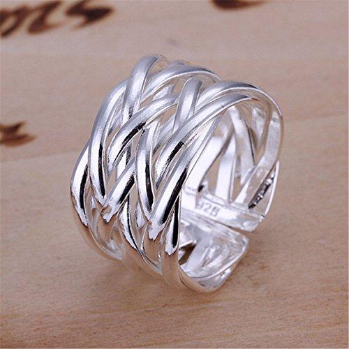 SHINA Creativo 925 placcato argento maglia liscia Intrecciato Anello