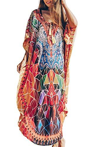 L-Peach Damen Schnelltrocknend Stickerei Kaftan Maxi Langes Kleid Strandkleid Bikini Cover Ups