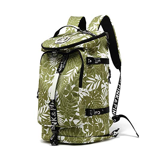 Gym Duffle Bag Backpack 4-Way Waterproof with Shoes Compartment for travel Sport Hiking laptop (olive-green)