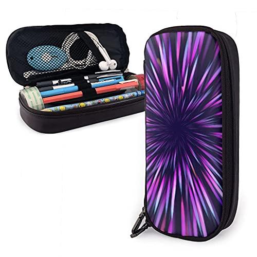 Estuche para lápices de cuero con luz de arco iris psicodélico de meditación abstracta, gran capacidad, duradero, con cremallera, estuche para lápices, almacenamiento, maquillaje, cosméticos