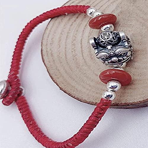 KEEBON Feng Shui Riqueza Pulsera de Plata esterlina pixiu pi yao Pulsera Trenzado al Sur Rojo ágata Accesorios Pulsera Brazalete Negro Cuerda roja Pulsera atrae Dinero Amuleto, Negro (Color : Red)