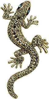 Angoter Collare Gecko Spilla Strass Lucertola Epoca Gotica Pins Animal Abbigliamento Decor