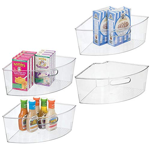 mDesign Kitchen Cabinet Plastic Lazy Susan Storage Organizer Bins with Front Handle - Large Pie-Shaped 1/4 Wedge, 6' Deep Container - Food Safe, BPA Free, 4 Pack - Clear