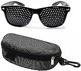 Gafas de descanso, estenopeicas, rejilla óptica, con agujeros, para mejorar la vista, negras