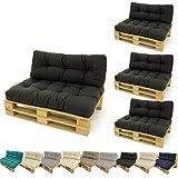 Edenjardi Pack 4 sofás para palets + 4 cojín de Asiento 80x120x16 cm + 4 cojín Respaldo 42x120x16...