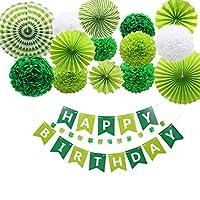simpleSS 誕生日 飾り付け ガーランド HAPPY BIRTHDAY飾り ペーパー バースデー 子供 男の子 女の子 の誕生日装飾 (グリーン)