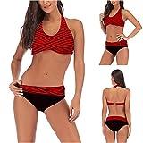 Mujer Bikini Rayas Traje de baño Acolchado Ropa de Playa de Dos Piezas Conjuntos De Bikini Triángulo Rayas Cómodo Y Suave Tankinis Bikini a Push up Bra Traje de baño Ropa de Playa