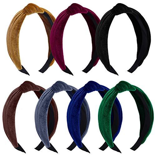 7 piezas de terciopelo ancho llano cintas nudo turbante diadema elástica sombreros accesorios para mujeres y niñas, 7 colores