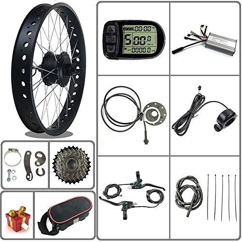 Ricetoo 36V / 48V 500W Kit de conversión de bicicleta eléctrica para bicicleta de nieve / neumático gordo Motor de cubo giratorio trasero de rueda de 20/26 pulgadas con pantalla LCD5 (rojo, 20inch)