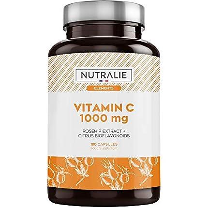 Vitamina C 1000 mg Pura Vegana por dosis   Para Cansancio y Fatiga, Sistema Inmunológico y Antioxidante con Escaramujo y Bioflavonoides sin Aditivos   180 Cápsulas Veganas Nutralie