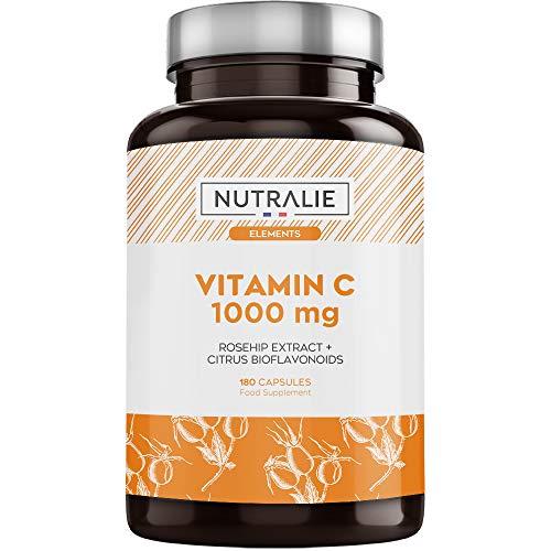 Vitamina C 1000 mg Pura Vegana por dosis | Para Cansancio y Fatiga, Sistema Inmunológico y Antioxidante con Escaramujo y Bioflavonoides sin Aditivos | 180 Cápsulas Veganas Nutralie