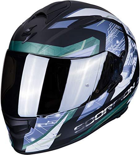 Scorpion Motorradhelm EXO-510 AIR CLARUS Matt black-Silver, Schwarz/Blau/Weiss, M