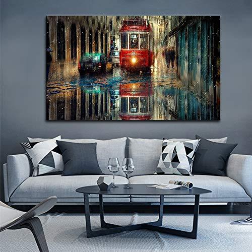KWzEQ Noche de la Ciudad de Nueva York Lámina Abstracta Lienzo Arte de la Pared Pintura al óleo Decoración del hogar Paisaje Arte30X50cmPintura sin Marco