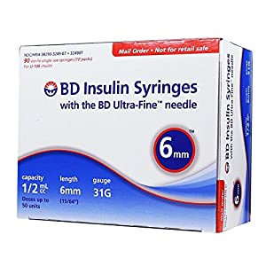 buy BD Ultra-Fine Insulin Syringes 31G 1/2cc 6mm 90/bx Diabetes Care