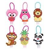 Lurrose 6 Sätze Kinder Reiseflaschen Schlüsselanhänger mit Obst Tier Silikon Hülle 30ml Flip Cap...