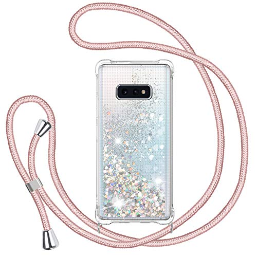 TUUT Funda Glitter Liquida con Cuerda para Samsung Galaxy S10e, Glitter Cristal Suave Silicona TPU Bumper Protector Carcasa, Brillante Arena Movediza con Colgante Ajustable Cordón Case -Oro Rosa