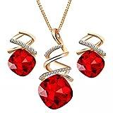 LUOEM Pendientes collar de mujer pendientes Set gota de agua Pendientes collar de cristal Pendientes conjunto de joyas de regalo para el banquete de boda de cumpleaños (rojo)