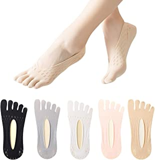 5 Pairs Invisble Socks Women Five Toes No show Ultra Low Cut Linger with Gel Tab Breathable orthopedic Socks with String (...