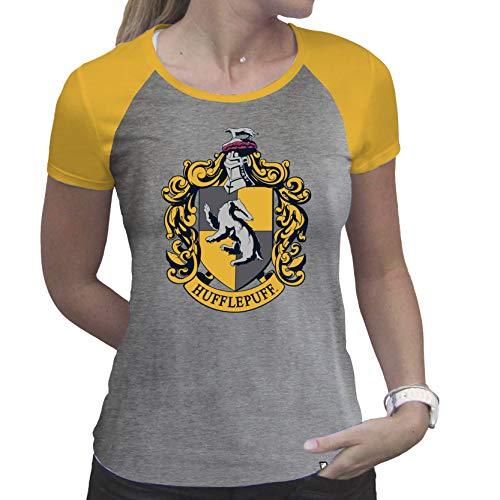 ABYstyle - Harry Potter - Tshirt - Tassorosso - Donna - Grigio e Giallo - Premium (L)