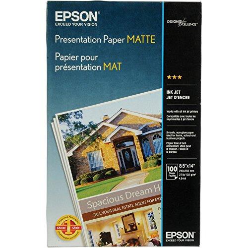 Epson Presentation Paper MATTE (8.5x14 Inches, 100 Sheets) (S041067),Bright White