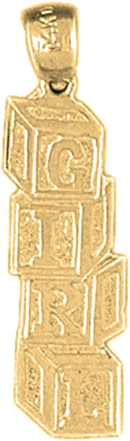 Yellow goldplated 925 Silver 27mm Girl Pendant Necklace