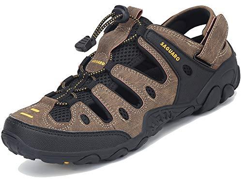 Herren Wandersandalen Geschlossene Trekking Sandalen Atmungsaktiv Outdoor Sport Wasserfest Schuhe braun 40