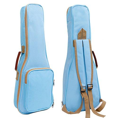 Zealux® Hochwertige Ukulele-Hülle/Tasche mit Schaumstofffüllung und Schulterriemen, 10 mm, in verschiedenen Farben 21 in hellblau