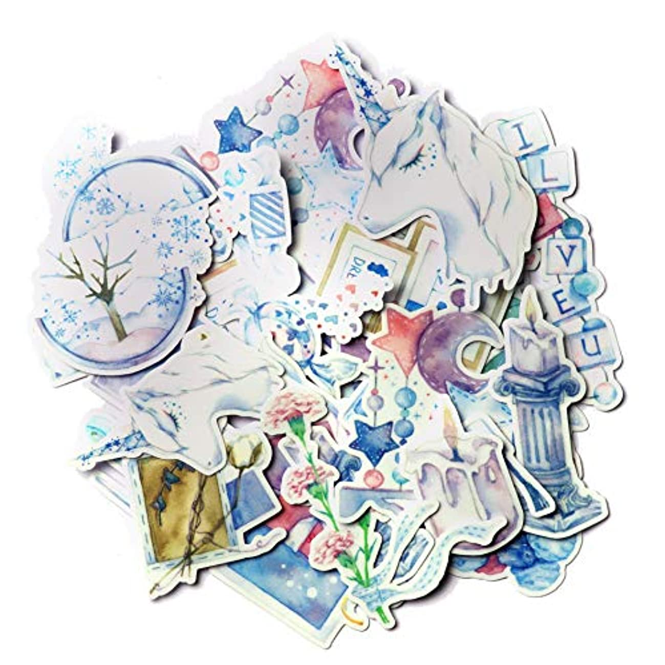 Navy Peony Blue Unicorn Stickers and Dreamy Decals (23 Pieces) | Aesthetic Stickers for Party Favors and Scrapbooking | Cute Stickers for Girls | Waterproof Stickers for Water Bottles and Laptops