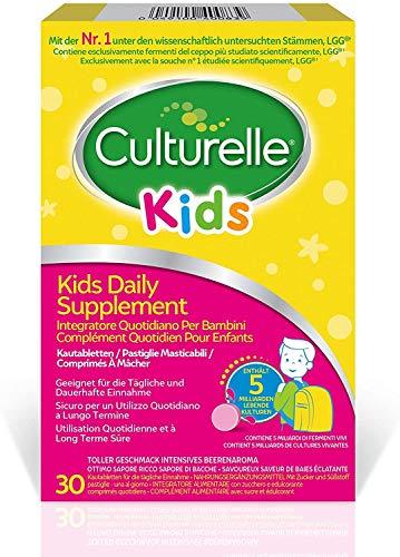 Culturelle Kids Food Supplement for Children | 30 chewable Tablets | 5 Billion Bacterial Cultures Lactobacillus Rhamnosus GG | Vegan | 30 Day Supply