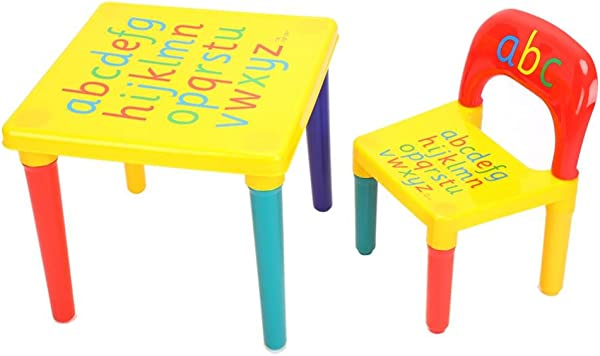 Kids Table And Chairs Set 2 Pieces Alphabetic Letter Table Furniture For Toddlers Children Detachable Activity Table Chair With Colorful Appearance For Boys Girls Lego Reading Train Art Play Room