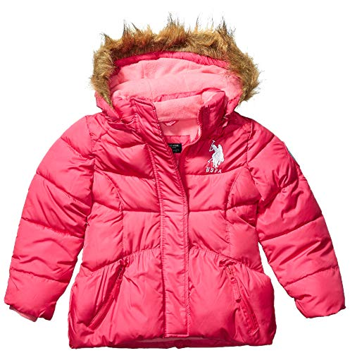 US Polo Association Girls' Little Bubble Jacket, Faux Fur Trim Fuchsia, 5/6