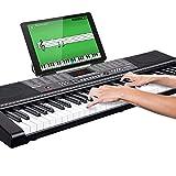 Bakaji - Teclado musical plano electrónico, 61 teclas, piano multifunción con 255 ritmos, 50 canciones preestablecidas, función de percepción, entrada USB AUX y soporte para partituras y tabletas