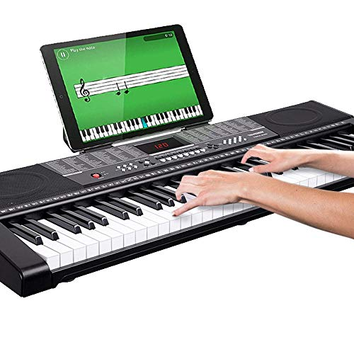 Bakaji Tastiera Musicale Pianola Elettronica 61 Tasti Pianoforte Multifunzione con 255 Ritmi 50 Brani Preimpostati Funzione Percussione Ingresso USB AUX e Leggio Porta Spartito e Tablet