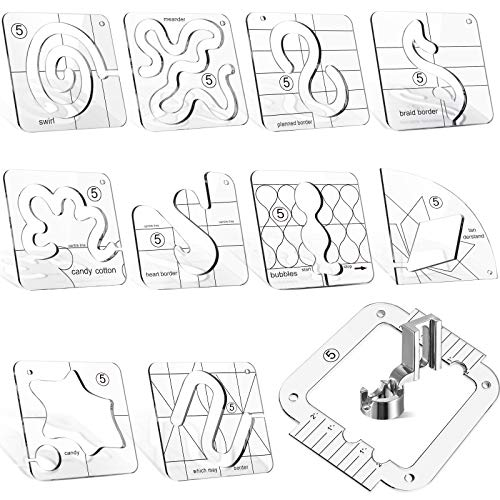 12 Pieces Free-Motion Quilting Templates with Quilting Frame and Low Shank Ruler Foot Set, 3 mm Thick Transparent Acrylic Templates for DIY Quilting on Domestic Sewing Machine Ruler