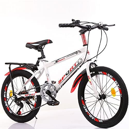 DWXN Bicicleta para niños en 7 a 8 para niñas Velocidad Variable con Asiento Trasero Bicicletas de montaña 18 Ruedas con Marco de Acero al Carbono Edición Deportiva