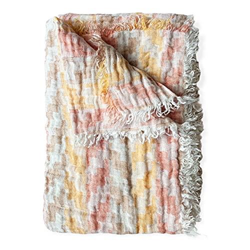 Doubleface Plaid Bettüberwurf Leinen Stonewashed (Tetris, 140 x 200 cm)