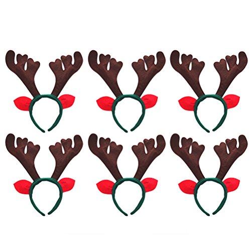 Frcolor Fasce natalizie Antler con fasce per le renne con orecchie per feste natalizie, confezione da 6 (caffè)