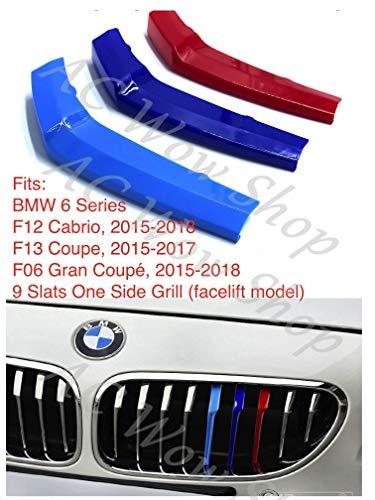 Compatibel met B M W 6 -er F12 F13 F06 2015-2018 9 BARS motorkap radiator grill strepen lamellen afdekkingen panelen clips M Power Sport Performance Tech pakket kleur grilles badge