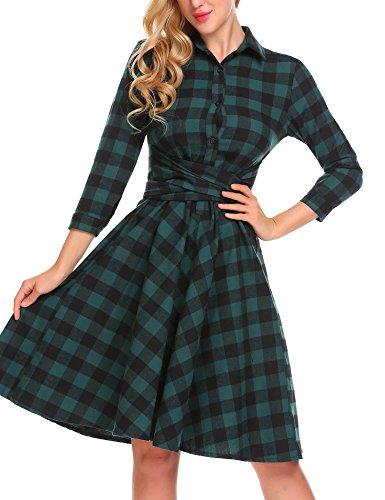 Burlady Women's Plaid Dress - Girl's 3/4 Sleeve Button Down Checker Shirt Dress with Belt