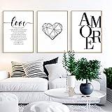Nordic Ideas Set de 3 Affiches Noir et Blanc 50x70 Citation Amour Maison Tableau Decoration Murale Salon Impressions sur Toile Poster sans Cadre PTPC002-XL